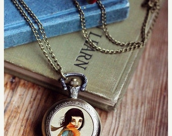ON SALE Fox Saviour watch locket -- anti fox hunt, girl saving fox jewelry, fox pocket watch, animal lover - by Meluseena