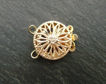 Gold Filled Filigree 2 Row Clasp 12mm (CG6626)