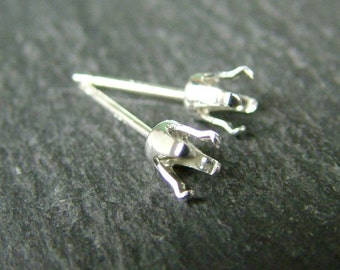 Sterling Silver 4mm Snap Setting Ear Post ~ PAIR (CG6078)