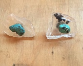 Crystal Earrings // Rare Crystals // Turquoise Jewelry // Post Earrings // Boho Jewelry // Healing Stones // PETALITE