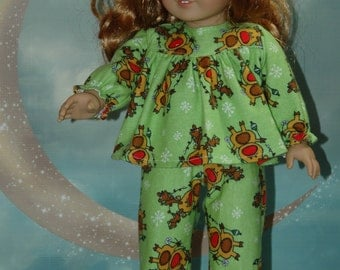 SALE Flannel pajamas, sleepwear, pants, top, 18 inch doll, doll clothes