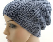 Knitted Slouchy Beanie Hat. Gray. Stretchy.
