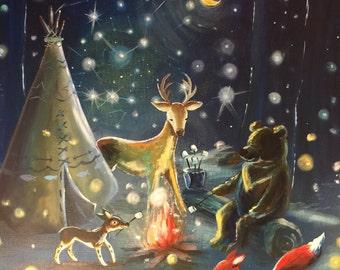 Star Night Constellation Bright- Print, woodland animals, fox, dog, camping, housewares. Baby, kids, art for kids