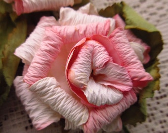 Paper Millinery Flowers 3 Large Shabby Peach Tones Roses