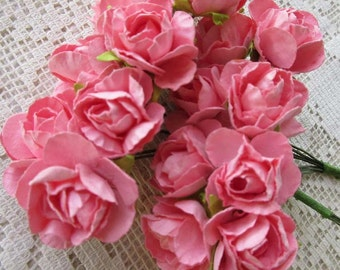 Paper Millinery Flowers 16 Spring Roses In Pink # NSTR