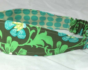 Fabric Headband Adult Womens Reversible Fabric Headband in Amy Butler Print Ready to Ship