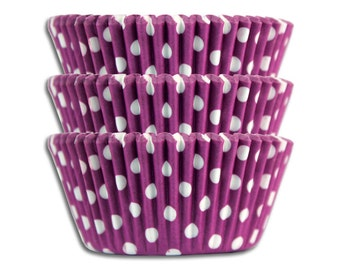 Purple Polka Dot Baking Cups - 50 paper cupcake liners
