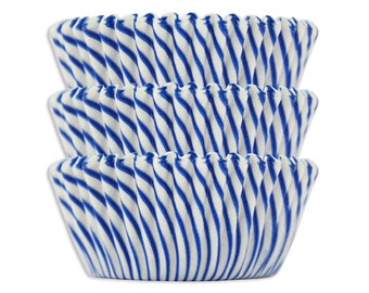 Blue Candy Stripe Baking Cups - royal blue striped cupcake liners, cupcake papers