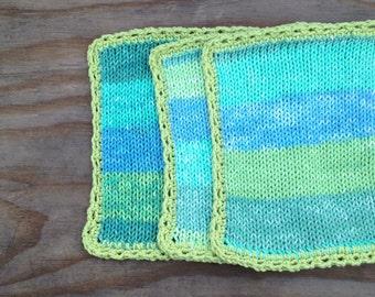 Spring mod color block dishcloths set of three Seagrass