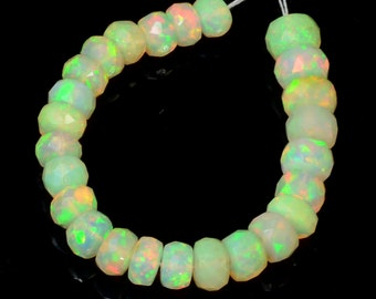 4.8mm-6mm Fine Ethiopian Welo Opal Faceted Rondelle Beads 3 inch strand