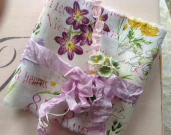 French Spring  Wildflowers - French Script - Tied with lavender crinkle seam binding Spring Green Forget Me Nots & Pink Lily of the Valley