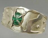 Vintage Mexico Brutalist Cuff Bracelet Sterling Silver 925