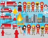 Firemen clipart fire engine clip art firefighters fire truck female girls boys male landscape city burning for personal commercial use