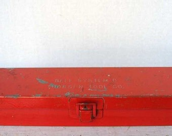 Vintage 1940's Metal Industrial Bell Systems Small Tools Box in Old Red Paint, Small Storage Box, Vintage Telephone Company Box