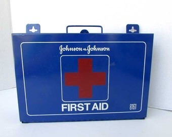 1950 Vintage Johnson & Johnson Heavy Metal First Aid Suitcase Box Cabinet, Wall Mount or Table, Red Cross, Red White Blue