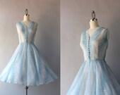 Vintage 50s Dress / 1950s Sheer Paisley Party Dress / 1950s Jonathan Logan Sheer Ethereal Dress