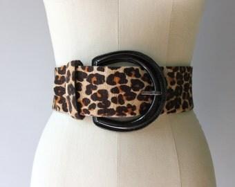 Leopard Print Belt / Vintage 1980s Fur Animal Print Belt / Wide Leather Belt