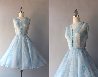 Vintage 50s Dress / 1950s Sheer Paisley Party Dress / 1950s Jonathan Logan Sheer Ethereal Dress