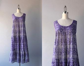 1970s India Cotton Dress / Vintage 70s Cotton Gauze Bohemian Dress / 70s Lavender Sheer Sundress