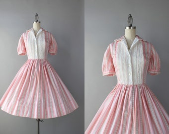 1950s Dress / Vintage 50s Pink Striped Dress / Ruffled Lace 50s Cotton Dress with Full Pleated Skirt