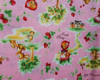 Half Yard Japanese Cotton Fabric Red Riding Hood Berries Woodland Animals 2 colors to choose