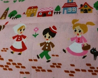 Japanese Cotton Fabric Nursery Tales Children The Pied Piper of Hamelin Pink or Cream Natural