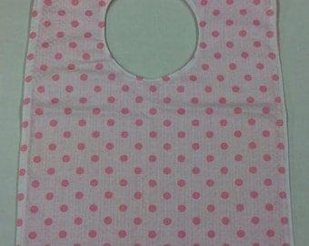 Bib for Baby or Toddler - Pink Polka Dots