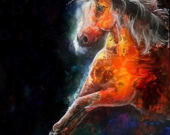 "8x10 Fire Horse Art Print by Sherry Shipley ""WILDFIRE"""