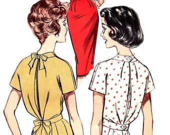1950s Dress Pattern Butterick Uncut Vintage Sewing Back Pleat Shift Slim Women's Misses Size 12 Bust 32 Inches