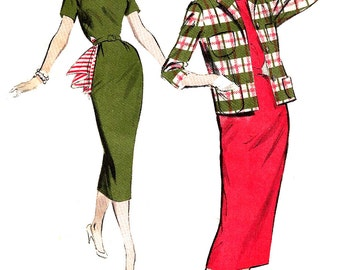 1950s Sheath Pattern Butterick  Dress Boxy Jacket Vintage Sewing Women's Misses Size 18 Bust 38 Inches