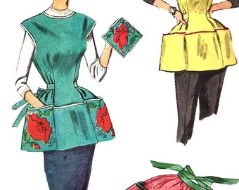 1960s Apron Pattern Simplicity Sewing Vintage Full Half Cobbler Pot Holder Women's Misses Size Medium  Bust 34 - 36 Inches