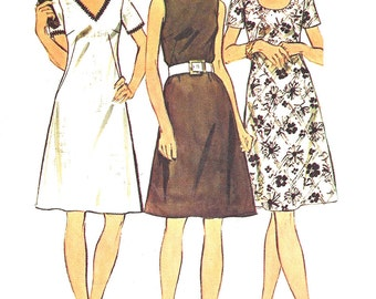 1970s Dress Pattern Vintage Simplicity Sewing Look Slimmer Half Size Women's Misses Size 18. 5 Bust 41 Inches