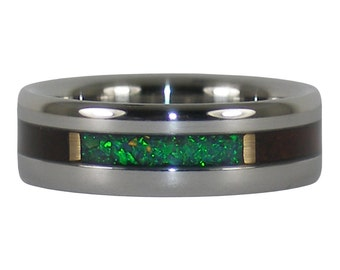 Green Lab Opal Ring with African Blackwood