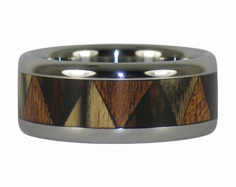 Tribal Ring with Three Wood Inlay