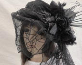 Black Widow Halloween Hat, Vintage hat,  Roses, Spiders, Lace, Netting,  Morning Hat, Halloween witch hat Gothic Hat Steampunk hat