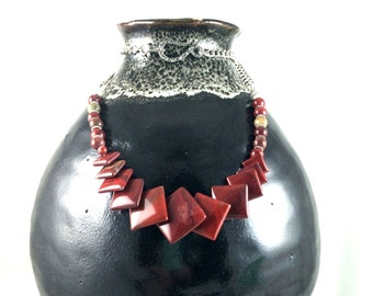 Red Jasper Overlapping Square Beads and Chain Necklace