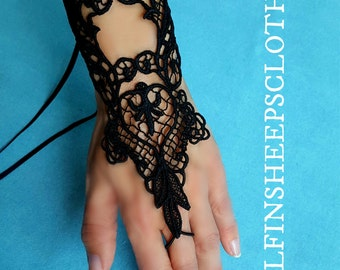 Embroidered Lace Gothic Cuffs Black Pair