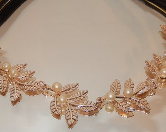 Serenity-Handmade Rose Gold Metal Headband with Pearl Accents-Bride-Bridesmaids-Prom-CRBoggs Original Design