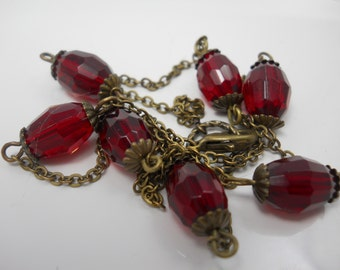 Necklace Glass Beaded Women's Jewelry Vintage Beveled Beads Dark Red on Brass Chain Layering Necklace Every Day Jewelry Simple Handmade