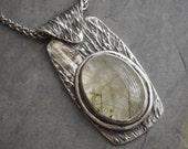 Kansas Prairie Grass Necklace, Ticklegrass, in Fine Silver with Green Rulitaled Quartz Cabochon