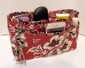 Quilted Purse Organizer Insert With Enclosed Bottom Large - Deep Red Foral Print