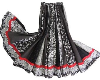 Long Panel Bohemian Patchwork Skirt