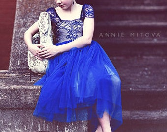 ROYAL BLUE Solstiss French lace and silk tulle flower gilr dress royal blue dress for baby girl royal blue tutu dress royal blue girls dress