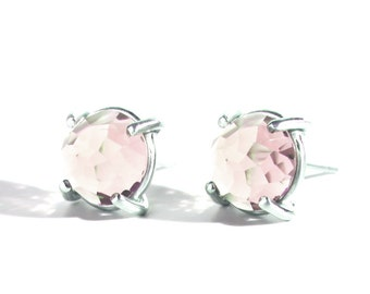 Rose Cut Rose Quartz Post Earrings, 10mm