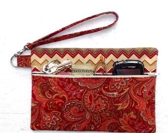 Paisley Print Clutch Wristlet, Rust Maroon Tan Zig Zag Print Purse, Front Zippered Wallet, Phone or Makeup Bag, Peach Camera or Gadget Case