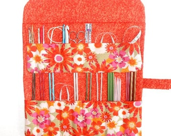 Orange Floral Knitting Needle Roll, Crochet Hook Case, Green Gold Double Pointed Needle DPN Storage, Artist Supply Organizer, Brushes Holder