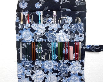 Navy Blue Knitting Needle Case, Floral Double Pointed Needle DPN Holder, Circular Needle and Crochet Hook Storage, Artist Brushes Organizer