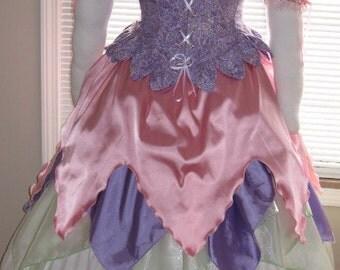 DDNJ Choose Colors 3pc Fantasy Fairy Reversible Corset Chemise Skirt Princess Renaissance Plus Custom Made Any Size Anime Costume Kawaii