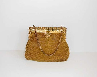1940s purse / Chunky Frame Vintage 40's Chain Mail Rhinestone Mesh Bag