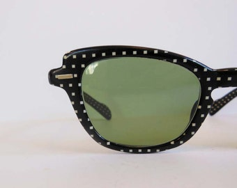 50s sunglasses / Vintage 1950's Black and White Polka Dot Sunglasses
